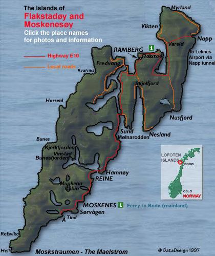 Lofoten Map Of Moskenes And Flakstad